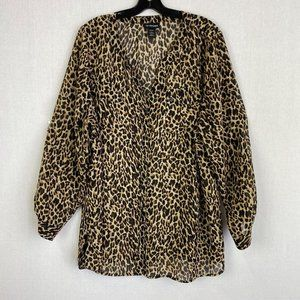 LANE BRYANT Cheetah Print Sheer Blouse